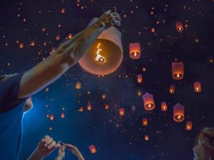 Floating Asian lanterns