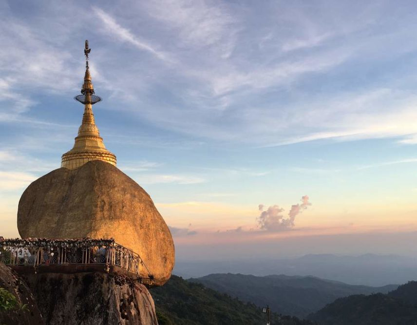 Myanmar Golden Rock Pagoda at Sunset