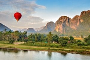 Hot air balloon at sunrise, Vang Vieng Laos
