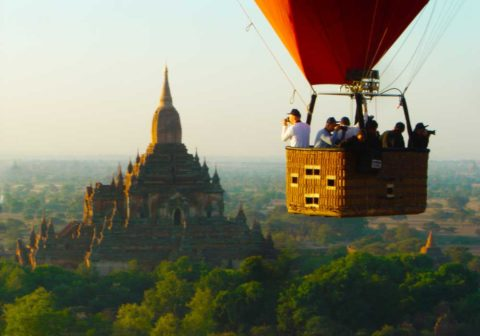 myanmar tour - bagan balloon flight